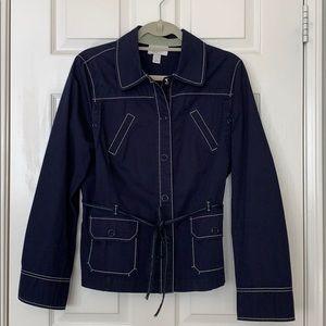 Loft Navy Blue Snap Front Jacket